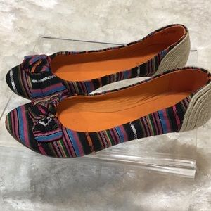 Bakers Multi colored textured fabric espadrille8.5
